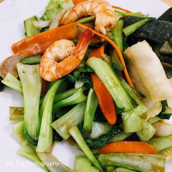 对虾炒油菜